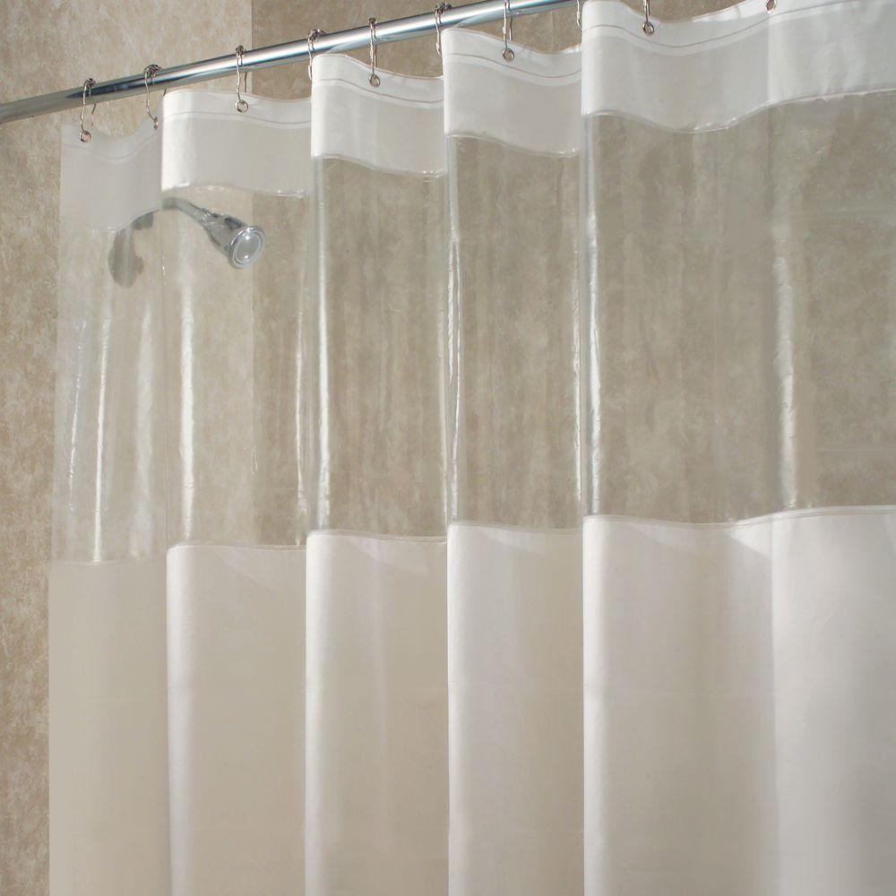 interdesign hitchcock long shower curtain in clear 27580 the home depot. Black Bedroom Furniture Sets. Home Design Ideas