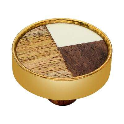 Athena 1-3/5 in. Wood and White Cabinet Knob