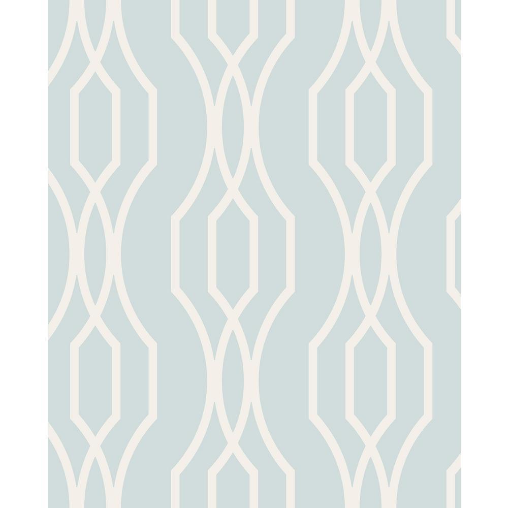 A-Street 56.4 sq. ft. Coventry Light Blue Trellis Wallpaper 2782-24516