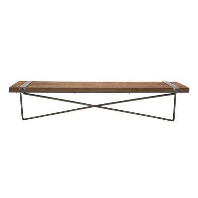 Rustic Farmhouse 31.5 in. L Metal Wooden Large Wall Shelf
