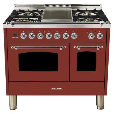 40 in. 4.0 cu. ft. Double Oven Dual Fuel Italian Range with True Convection, 5 Burners, Griddle, Chrome Trim in Burgundy