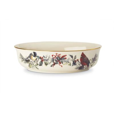Winter Greetings 7 in. 34 fl. oz. Ivory Bone China Open Vegetable Bowl