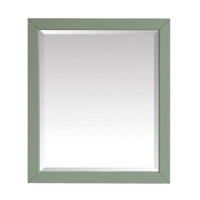 27.25 in. W x 32.00 in. H Framed Rectangular Beveled Edge Bathroom Vanity Mirror in Sea Green finish