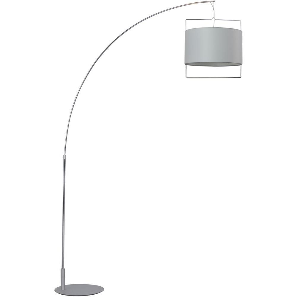 Oriax 88 in. Satin Nickel/Polished Chrome Floor Lamp with White Fabric Shade