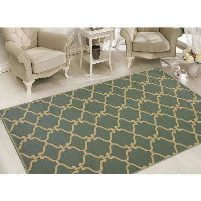 Clifton Collection Moroccan Trellis Design Teal 8 ft. x 10 ft. Felt Area Rug