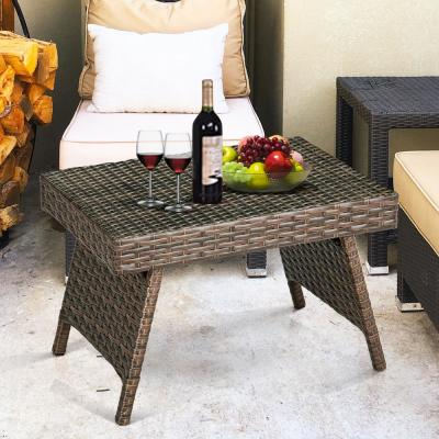 Brown Rectangle Wicker Outdoor Folding Side Table Coffee Table
