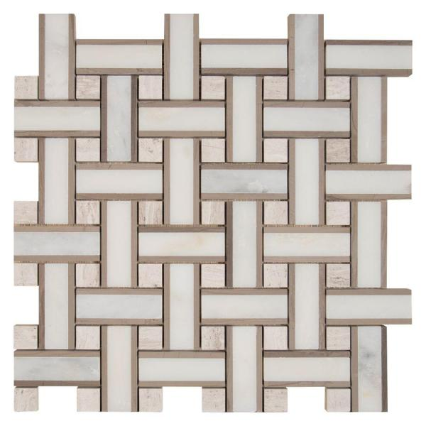 Renaissance 12 in. x 12 in. x 10mm Honed Marble Mesh-Mounted Mosaic Floor and Wall Tile (10 sq. ft./Case)