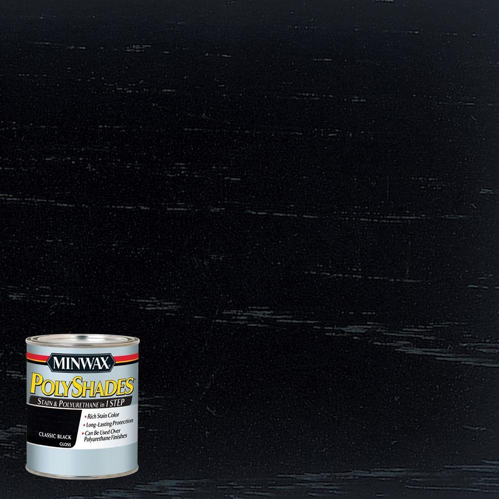 8 oz. PolyShades Classic Black Gloss 1-Step Stain and Polyurethane (4-Pack)