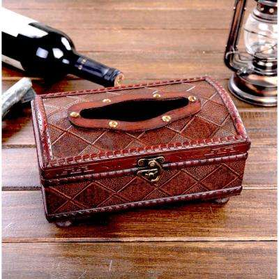10.5 in. W x 6 in. D x 4.5 in. H Wood Antique Style Tissue Box