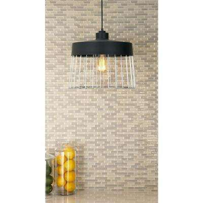 Industrial 1-Light Drum-Shaped Iron Grid Shade in Matte Black