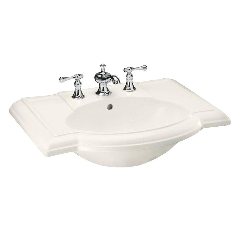 KOHLER Devonshire Vitreous China Pedestal Sink Basin in Biscuit with Overflow Drain