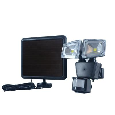 Dual COB Black Outdoor Solar Motion Activated Security Flood Light with Integrated LED