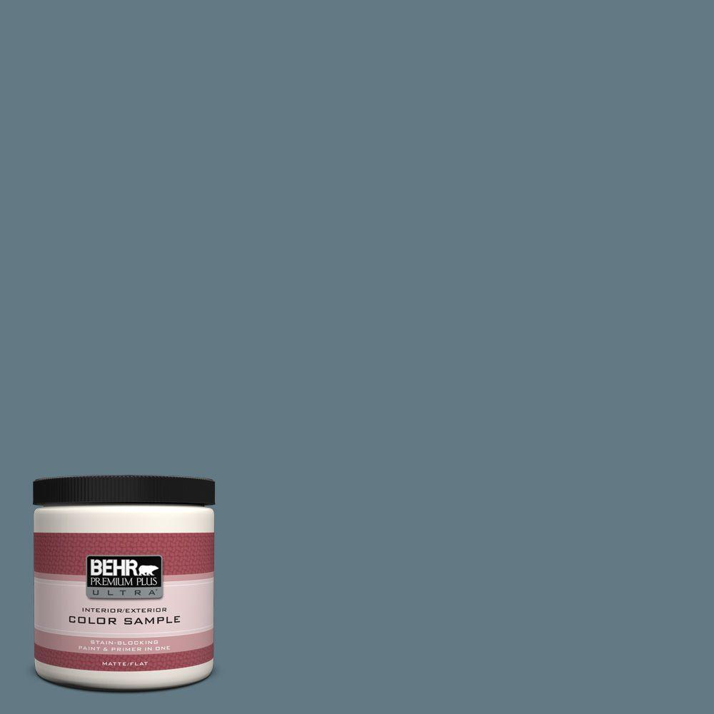 BEHR Premium Plus Ultra 8 Oz. #540F 5 Smokey Blue Flat Interior/Exterior  Paint And Primer In One Sample 540F 5U   The Home Depot