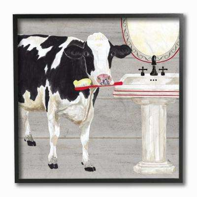 "12 in. x 12 in. ""Bath Time For Cows at Sink Red Black and GreyPainting"" by Tara Reed Framed Wall Art"