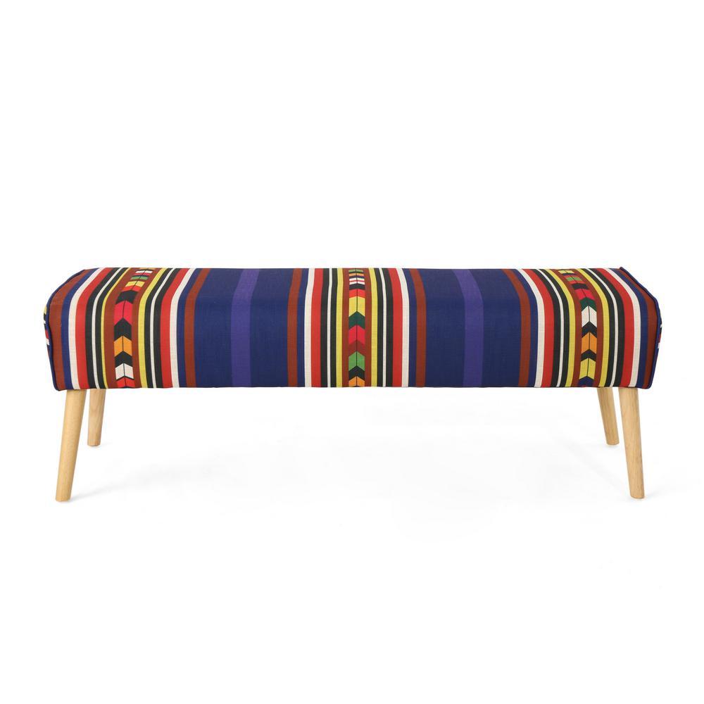 Safire Mid-Century Boho Multi-Colored Striped Fabric Bench