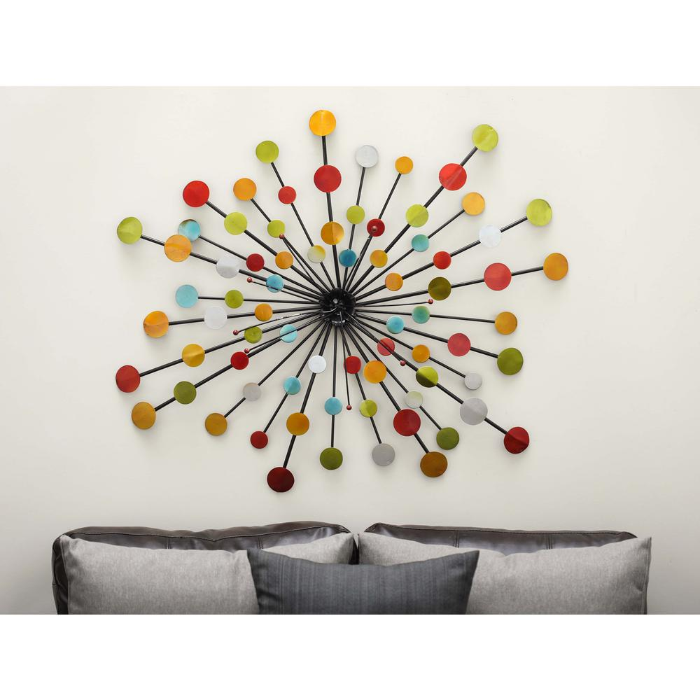 40 in. x 40 in. Pop Arts Multicolored Iron Discs Wall