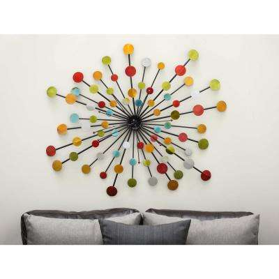 40 in. x 40 in. Pop Arts Multicolored Iron Discs Wall Decor