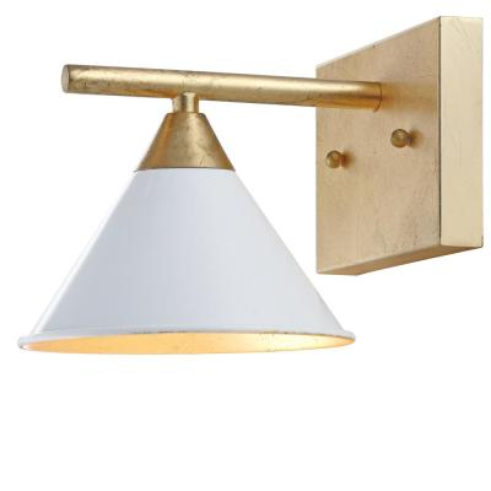 Yvette 1-Light 9.25 in. White/Gold Metal Wall Sconce
