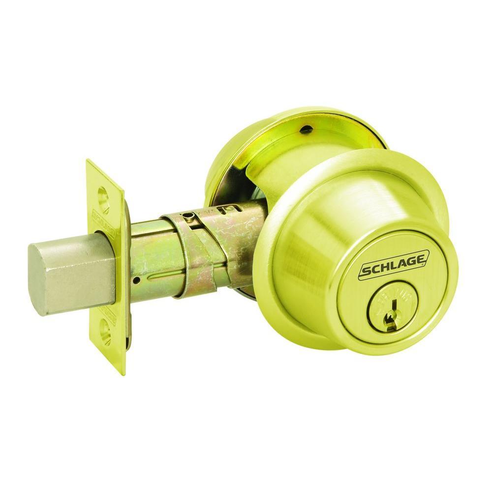 Schlage Double Cylinder Bright Brass Medium Duty Commercial Deadbolt