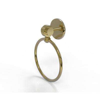 Satellite Orbit Two Collection Towel Ring with Groovy Accent in Unlacquered Brass