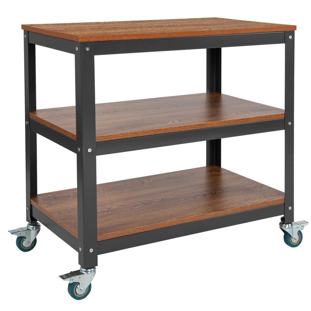 29.75 in. Brown Oak/Black Metal 3-shelf Cart Bookcase with Locking