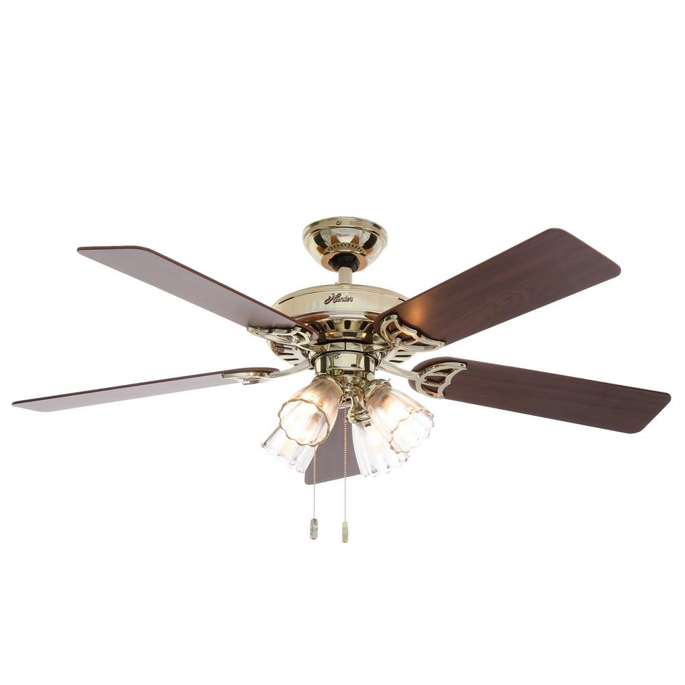 Hunter Studio Series 52 in. Indoor Bright Brass Ceiling Fan with Light Kit