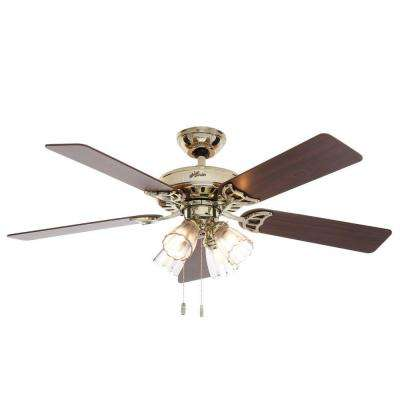 Studio Series 52 in. Indoor Bright Brass Ceiling Fan with Light Kit