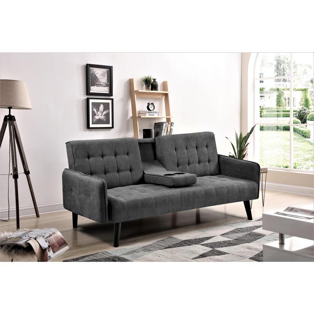 US PRIDE FURNITURE Payne Convertible Dark Grey Sofa Bed ...