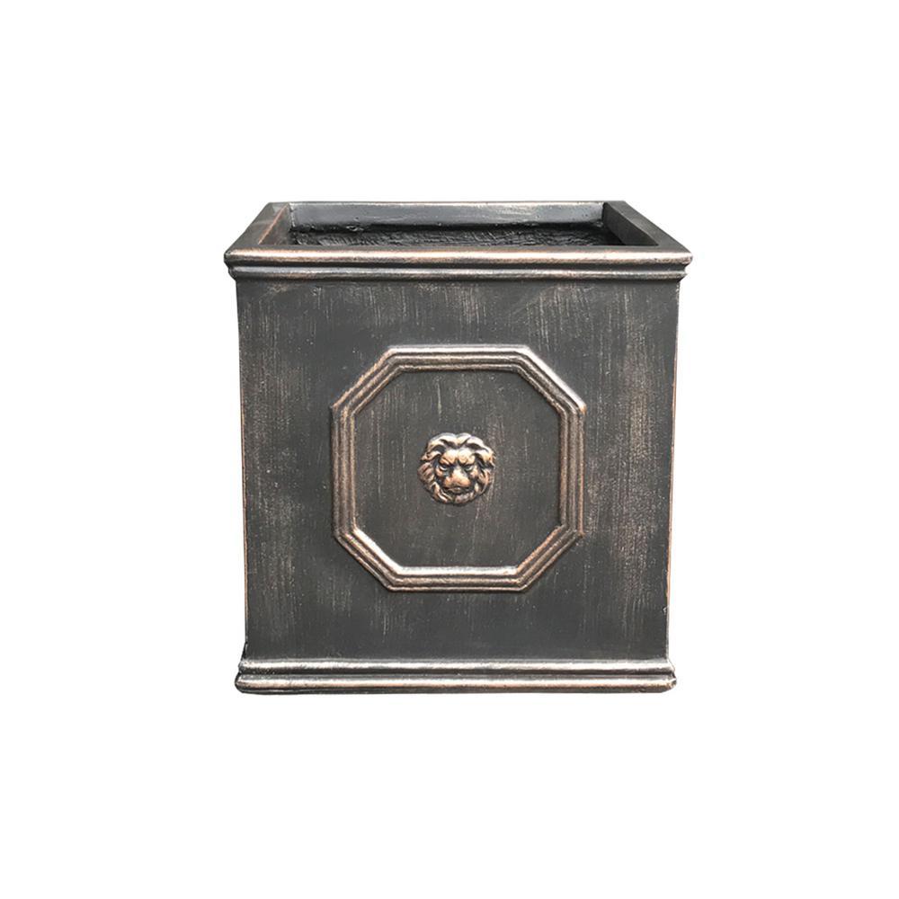 10.24 in. Bronze Color Lightweight Concrete Lion Head Square Small Planter
