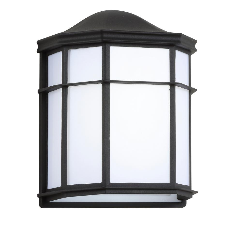 JONATHAN Y Henry Medium 9 7 in  Black/White Integrated LED Outdoor Frosted  Acrylic/Metal Sconce