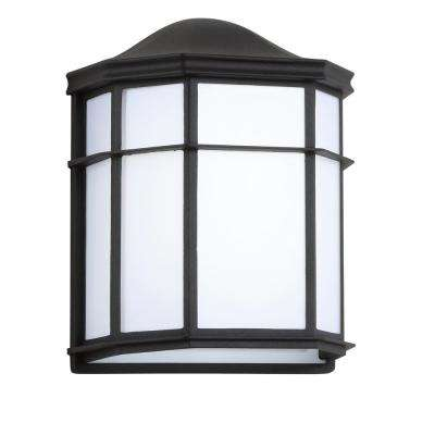 Henry Medium 9.7 in. Black/White Integrated LED Outdoor Frosted Acrylic/Metal Sconce