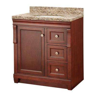 Naples 31 in. W x 22 in. D Vanity in Tobacco with Granite Vanity Top in Giallo Ornamental with White Sink
