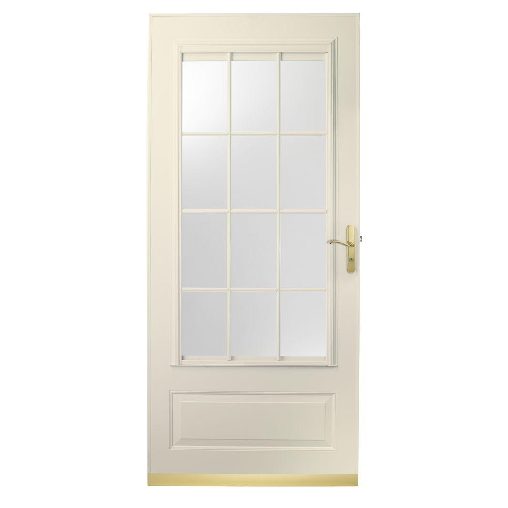 null 36 in. x 80 in. 400 Series Almond Aluminum Colonial Self-Storing Storm Door with Brass Hardware-DISCONTINUED