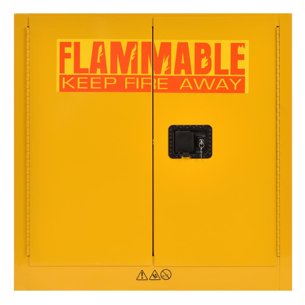 Edsal 35 in. H x 35 in.W x 22 in. D Steel Freestanding Flammable Liquid Safety Double-Door Storage Cabinet in Yellow