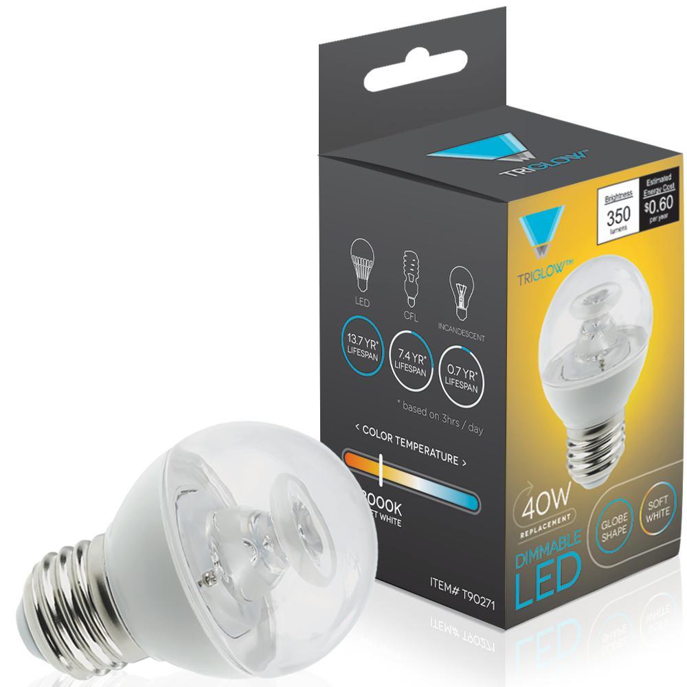 40-Watt Equivalent G16 Globe Dimmable LED Light Bulb E26 Medium Base Soft White