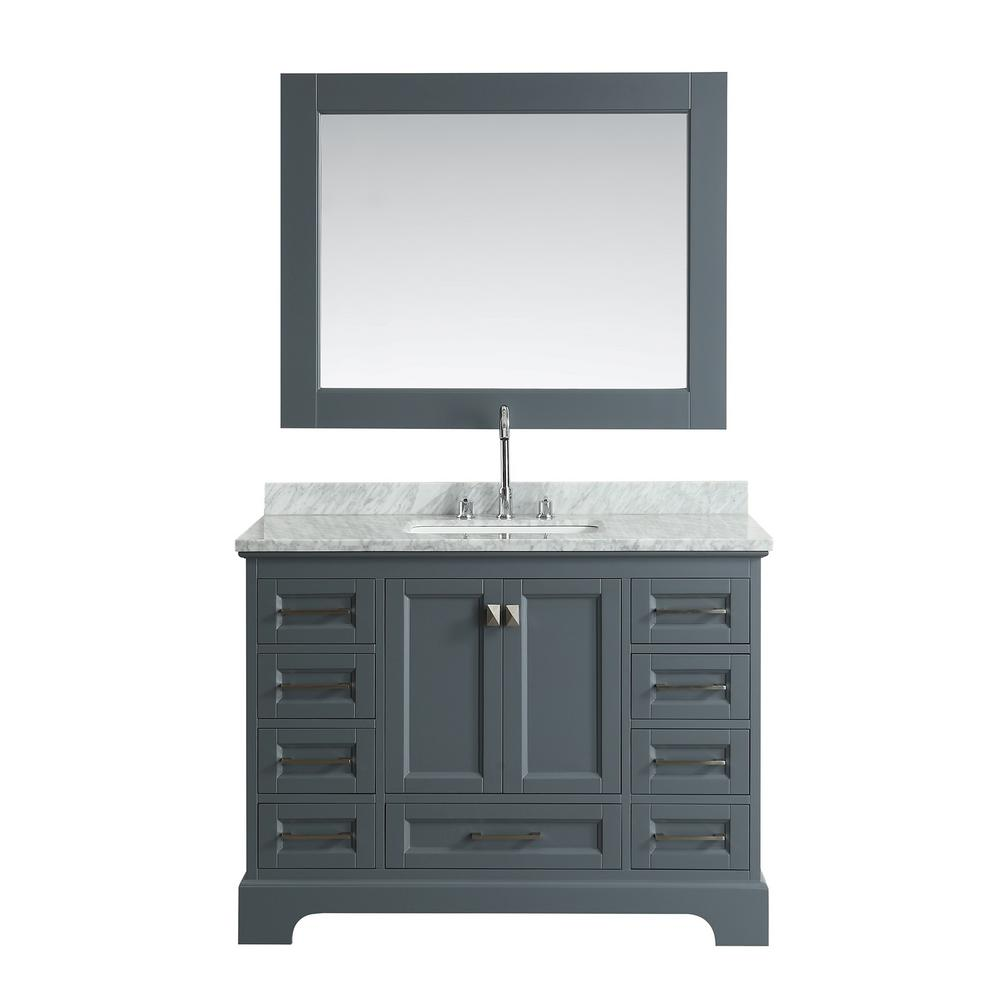 Design Element Omega 48 in. W x 22 in. D Vanity in Gray with Marble Vanity Top in Carrara White with White Basin and Mirror
