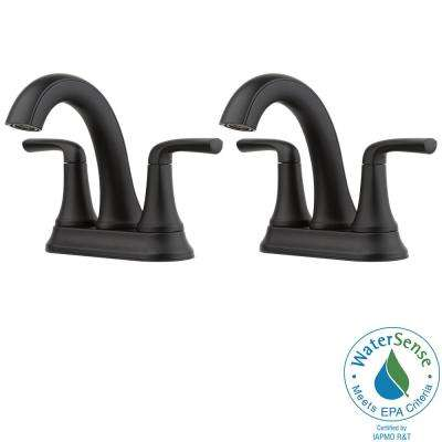 Ladera 4 in. Centerset 2-Handle Bathroom Faucet in Matte Black (2-Pack)