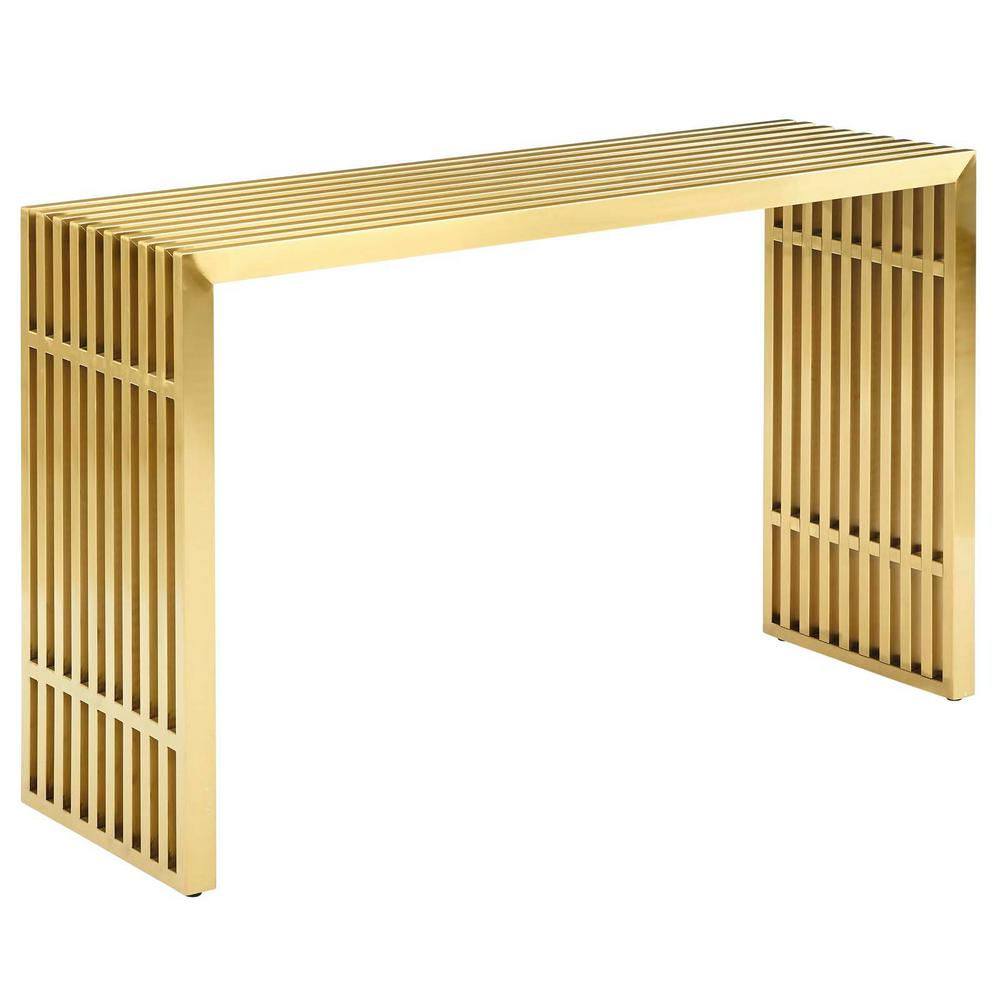 Merveilleux MODWAY Gold Gridiron Stainless Steel Console Table