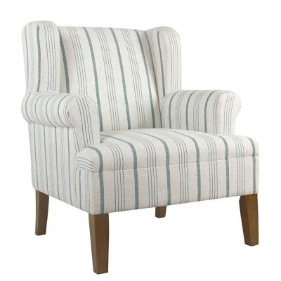 Multi-Color with Wing Back Fabric Upholstered Wooden Accent Chair