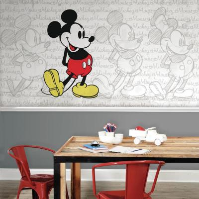 72 in. W x 126 in. H Classic Mickey XL Chair Rail 7-Panel Prepasted Wall Mural