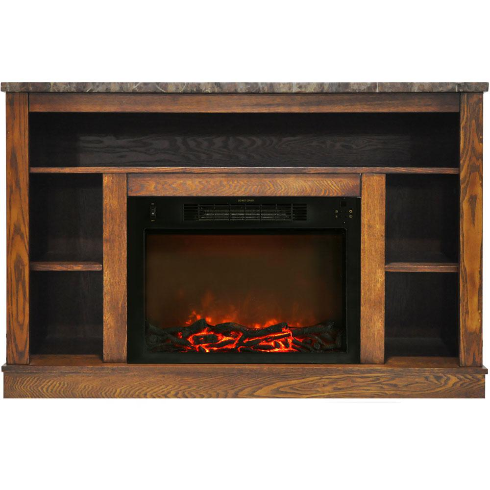 Astounding Hanover Oxford 47 In Electric Fireplace With 1500 Watt Charred Log Insert And A V Storage Mantel In Walnut Beutiful Home Inspiration Xortanetmahrainfo