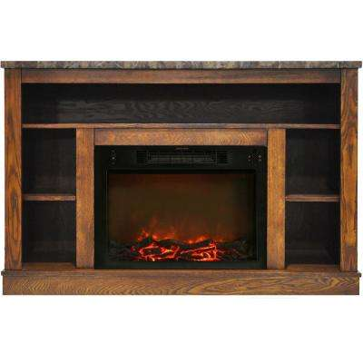Oxford 47 in. Electric Fireplace with 1500-Watt Charred Log Insert and A/V Storage Mantel in Walnut