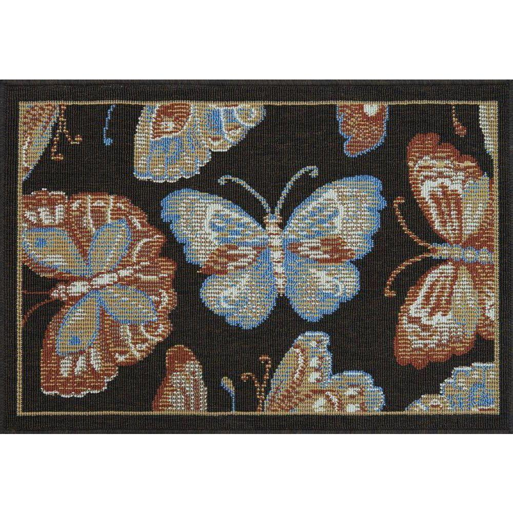 Loloi Rugs Augusta Lifestyle Collection Brown Butterfly 1 ft. 9 in. x 2 ft. 9 in. Accent Rug-DISCONTINUED