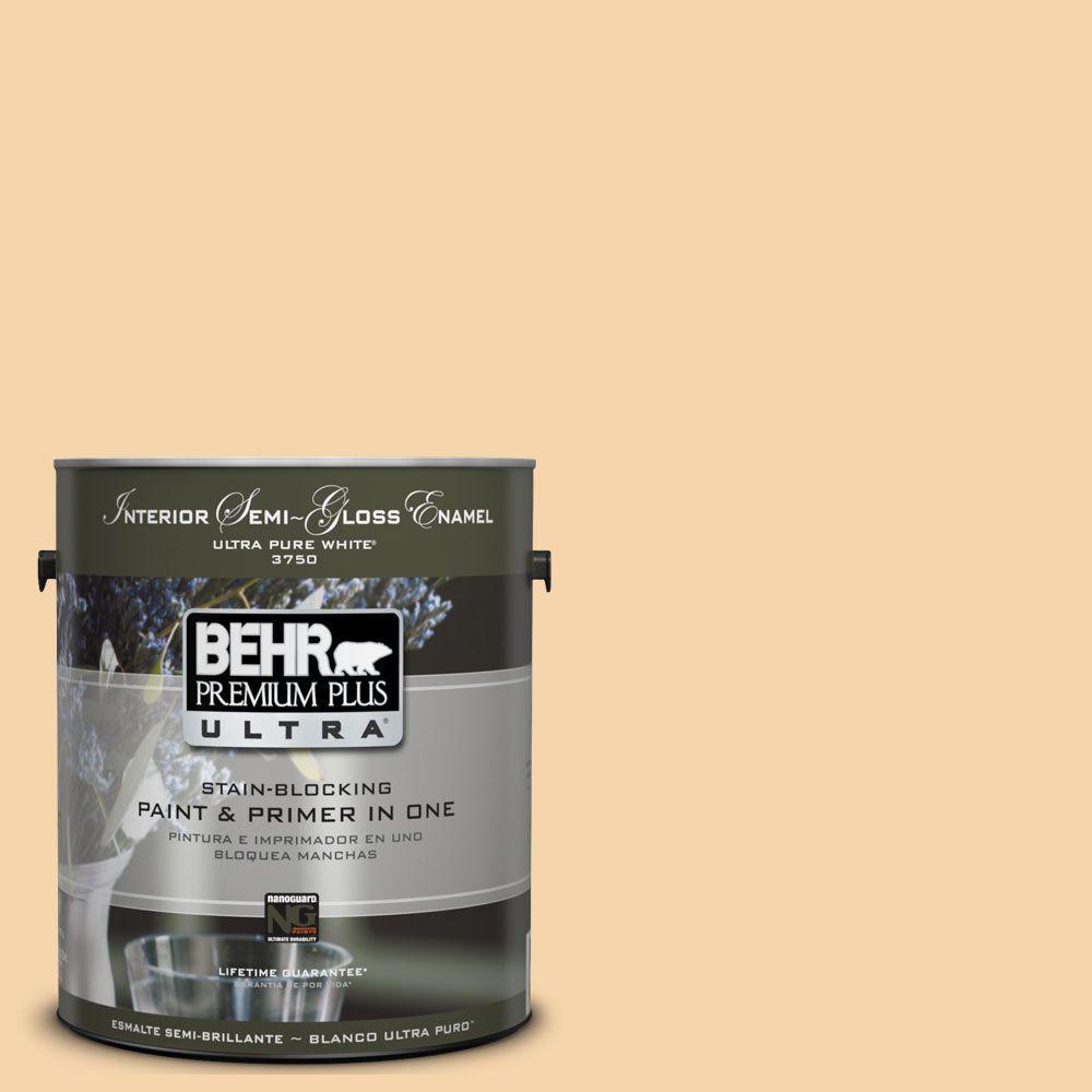 BEHR Premium Plus Ultra 1-gal. #UL150-12 Pale Honey Interior Semi-Gloss Enamel Paint