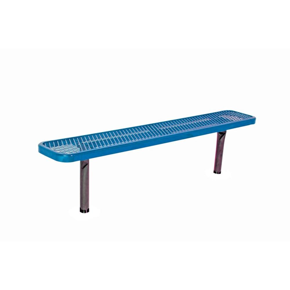 6 ft. Diamond Blue In-Ground Commercial Park Bench without Back Surface