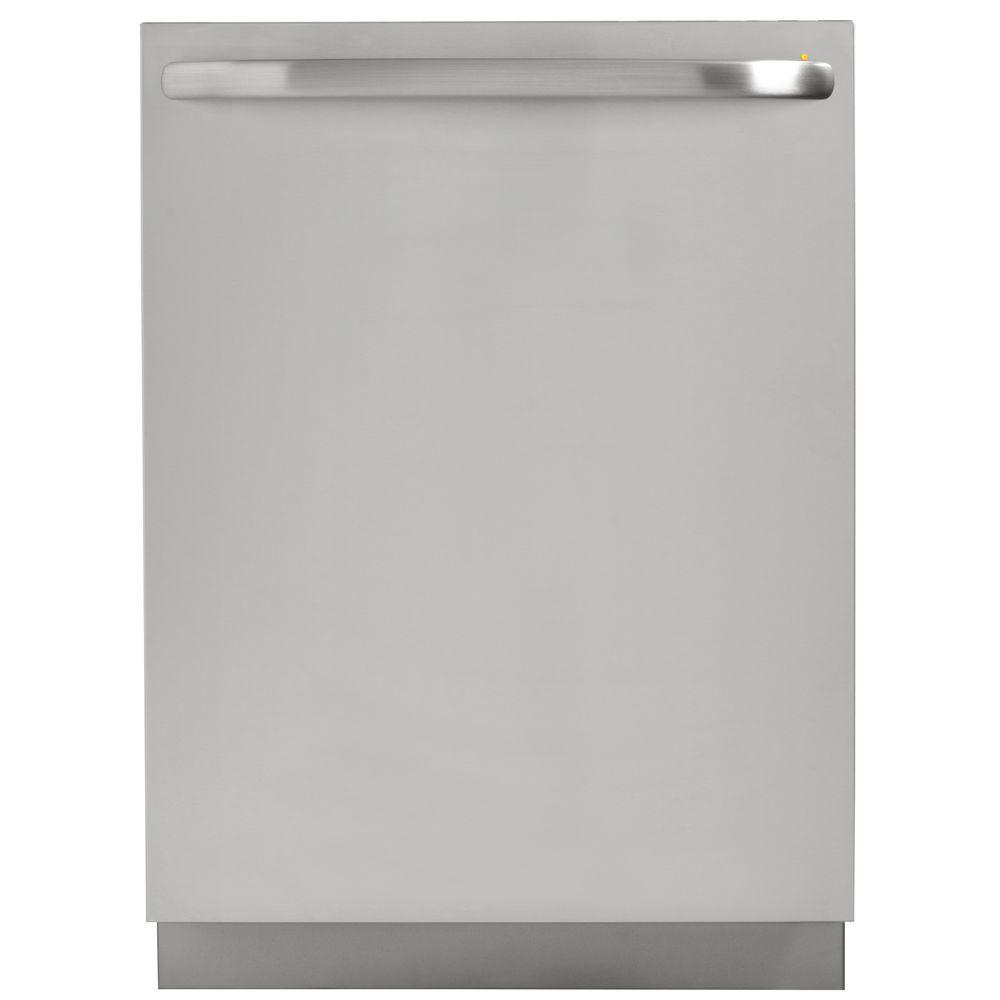 GE Top Control Dishwasher in Stainless Steel with Stainless Steel Tub and Steam Cleaning