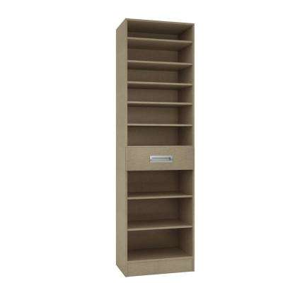 15 in. D x 24 in. W x 84 in. H Firenze Taupe Linen Melamine with 9-Shelves and Drawer Closet System Kit