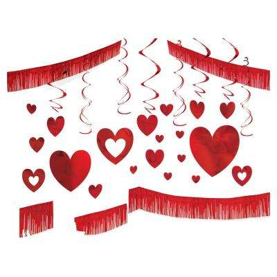 Red Foil 28-Piece Valentine's Day Giant Room Decorating Kit