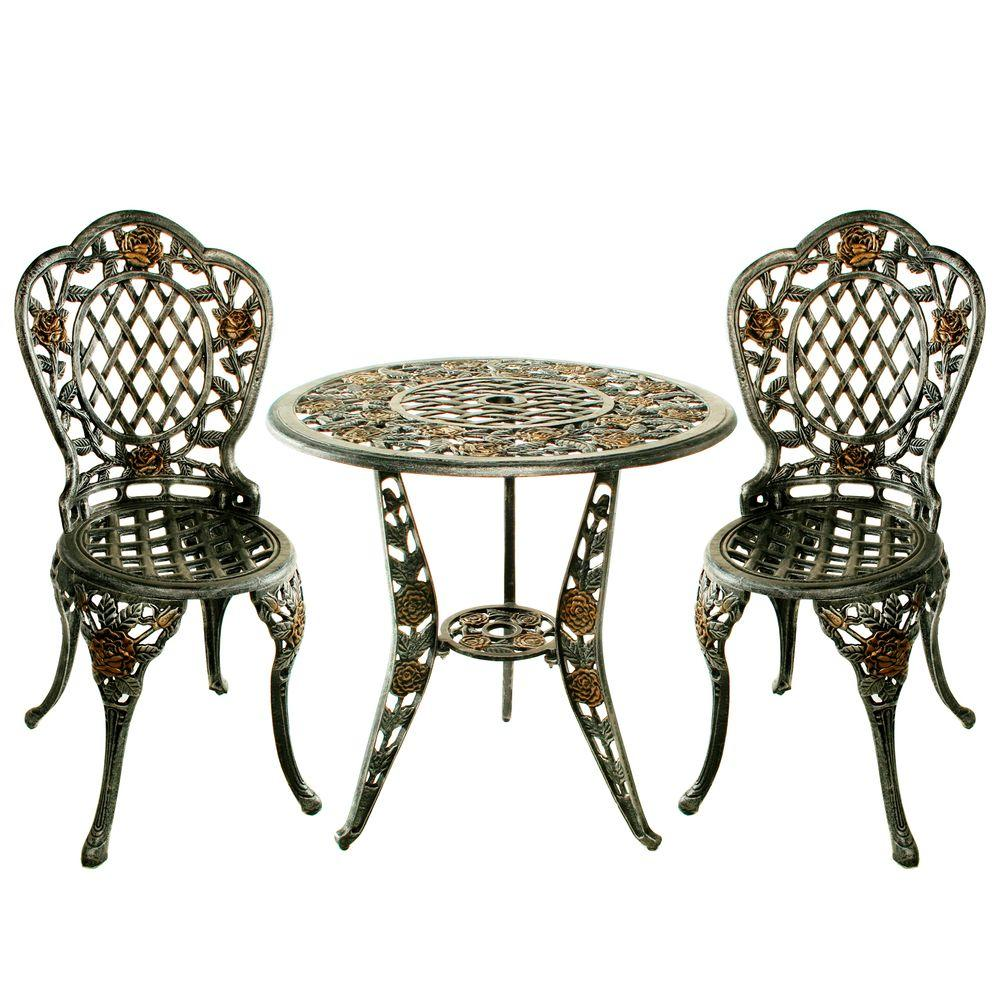Ordinaire Oakland Living Tea Rose 3 Piece Patio Bistro Set
