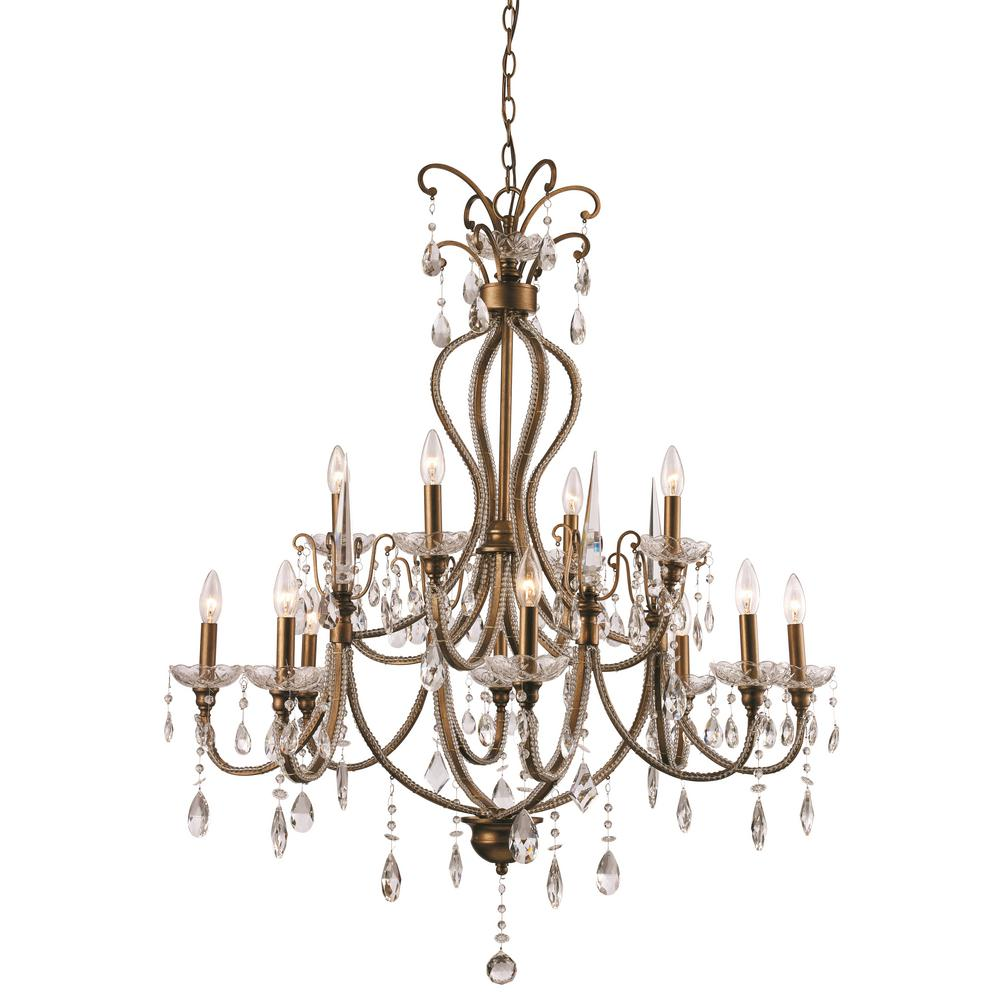 Bel Air Lighting Juglans 12-Light Antique Gold Chandelier - Bel Air Lighting Juglans 12-Light Antique Gold Chandelier-JU-12 AG